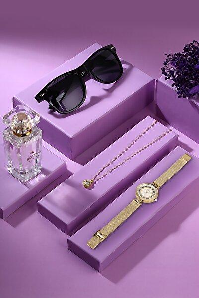 POLO Rucci Kadın Kol Saati Kutulu Set Zirkon Taşlı Tektaş Kolye + 50 Ml Parfüm + Güneş Gözlüğü Seti