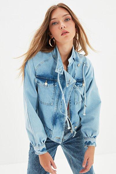 TRENDYOLMİLLA Mavi Bağlamalı Blazer Denim Ceket TWOAW22CE0138
