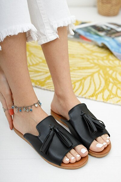 Ekol Ayakkabi Kadın  Siyah Püsküllü Terlik