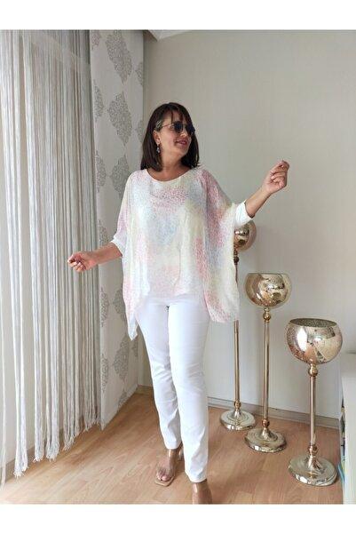 Apex Beyaz Şifon Bluz Ithal Bluz