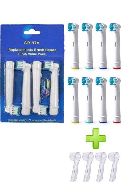 LUXON Şarjlı Ve Pilli Diş Fırçası Uyumlu 8 Adet Yedek Başlık Oral B Uyumlu Başlık 4 Adet Koruyucu Kapak