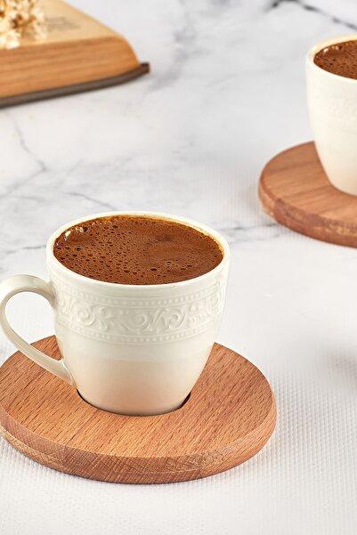 JOY KİTCHEN 2 Kişilik Kahve Takımı Seti Ahşap Tabaklı 4 Parça