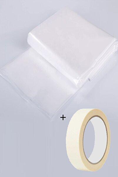 FırsatYapıMarket Hışır Örtü Boya Badana Koruma Koruyucu Naylon 50 M2 + Kağıt Maskeleme Bant
