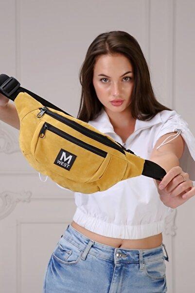 Moda West Unisex Sarı Süet 3 Bölmeli Çapraz Bel Ve Omuz Çantası