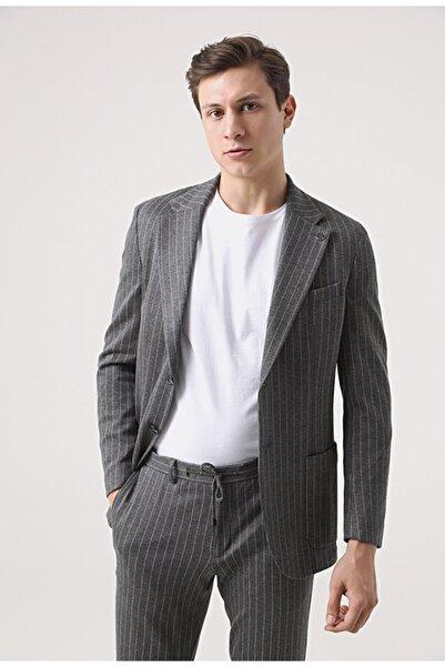 Damat Damat Regular Fit Antrasit Örme Kumaş Ceket