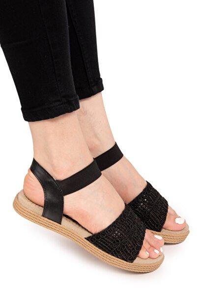 Armada Siyah Hasır Kadın Sandalet
