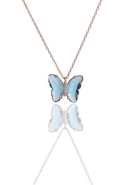 ENCİLİ SİLVER 925 Ayar Gümüş Kelebek Model Turkuaz Taşlı Rose Renk Kadın Kolye