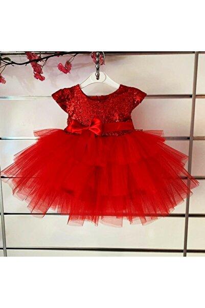 aden kids Kırmızı Pulpayet Elbise Kız Bebek