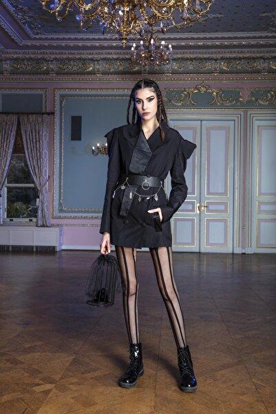 MERT ERKAN Coven - Siyah Tafta Ceket Elbise
