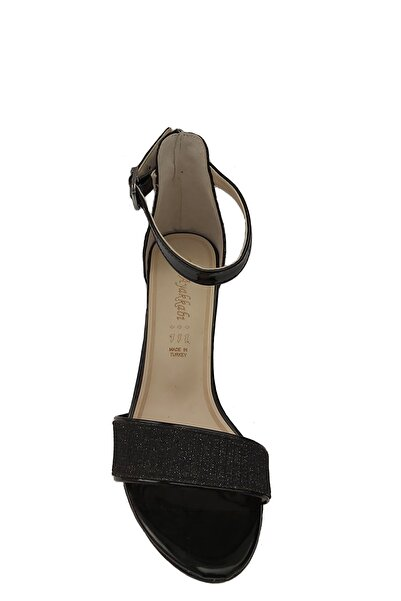Anıl Adenya Orta Topuk Simli Taşlı Tek Bant Siyah Renk Sandalet