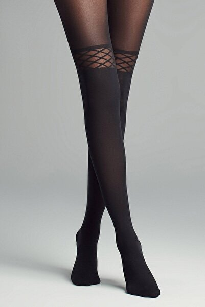 Mite Love Diz Üstü Desenli Siyah Külotlu Çorap