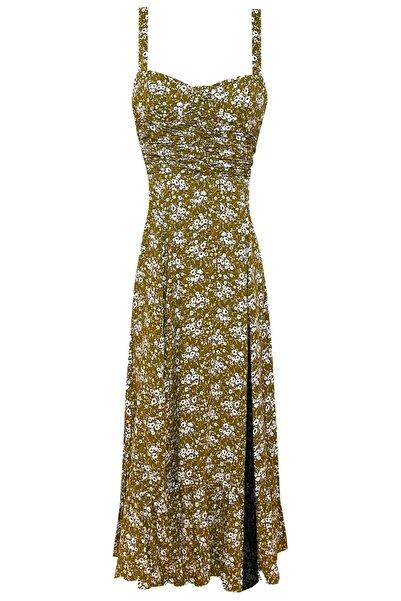 Muun Barbara Çiçek Desenli Midi Elbise