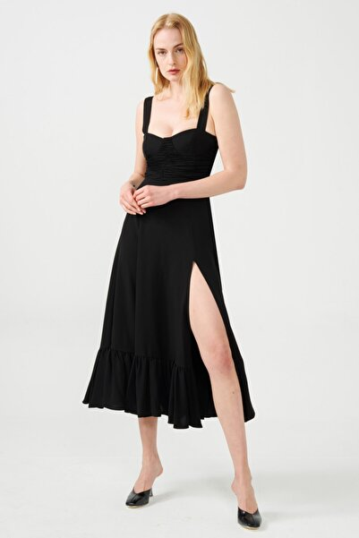 Muun Barbara Siyah Midi Elbise