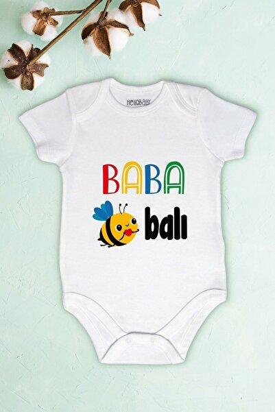 Limon Unisex Bebek Beyaz Baba Balı Baskılı Body Zıbın