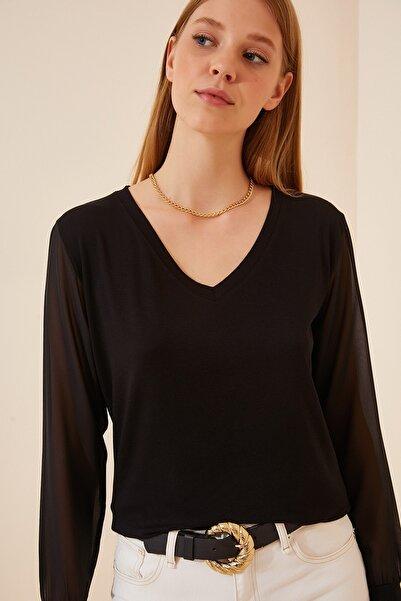 Happiness İst. Kadın Siyah Şifon Kollu Viskon Bluz EN00506