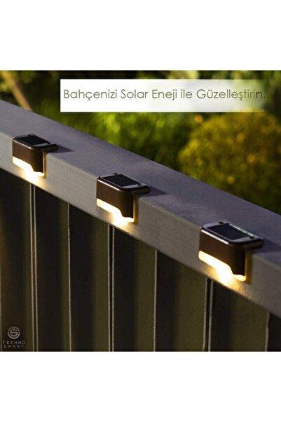 TechnoSmart Solar Güneş Enerjili Şarj Edilen Köşebent Merdiven Veranda Bahçe Led Lamba Siyah (1adet)