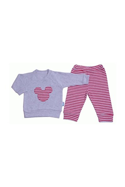 MiniLay Kız Çocuk Kırmızı-Gri  Çizgili Mikili Ikili Bebek Takım