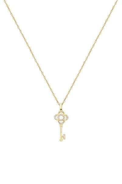 So CHIC... Anahtar 18 Ayar Sarı Altın Kaplama Gümüş Kolye