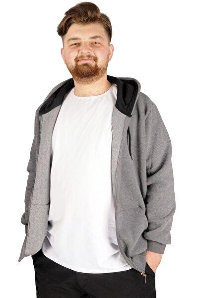 ModeXL Büyük Beden Erkek Sweatshirt Zippered Recycle B20533 Füme