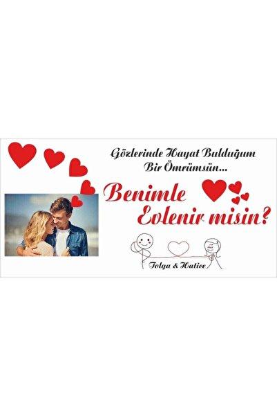 Baskı Madeni Fotoğraflı Evlilik Teklifi Afişi Pankartı 150cmx75cm
