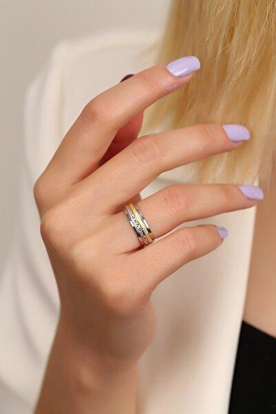 MySilvers Gümüş Sarı Beyaz Kadın Alyans