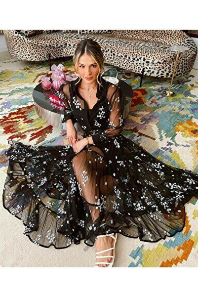 mor butik Butik Cool Kadın Siyah Ithal Flok Kumaş Astarlı Elbise (KEMER İLE GÖNDERİLECEKTİR)