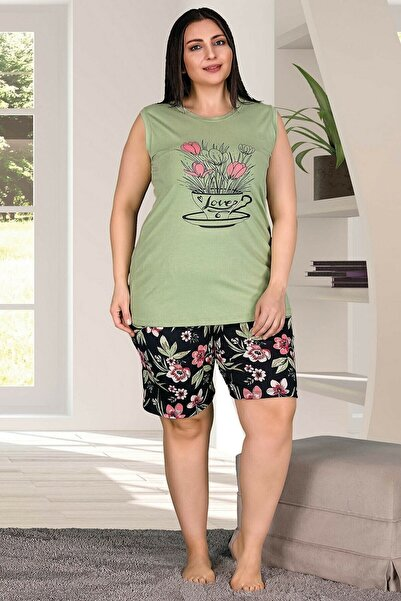 Yc Onlinewear Kadın Yeşil Büyük Beden Çiçekli Yazlık Şortlu Takım