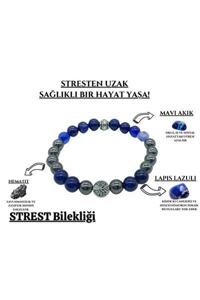 Endoles Doğal Taş Stres Doğaltaş Unisex Tılsım Bilekliği Mavi Akik Hematit Lapis Lazuli 606007