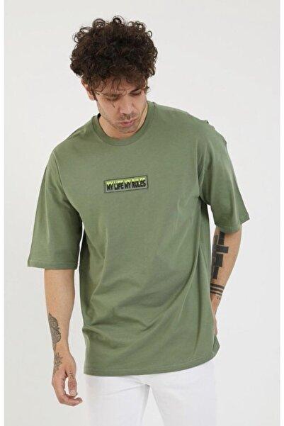 BREEZY Unisex Oversize Enjeksiyonlu Yeşil Tshirt