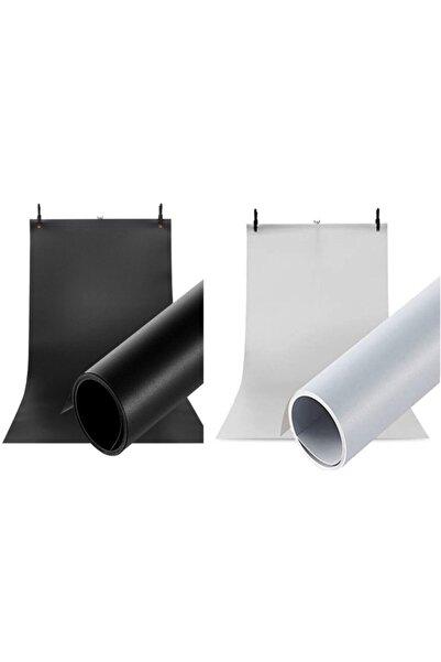 Hdg Ürün Çekim Fotoğraf Fonu Plastik Stüdyo Fonu Beyaz Siyah 70x100 Cm - Özel Karton Tüp Ruloda