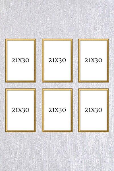 Araste Dekorasyon Gold Çerçeve Seti 6 Adet (a4 )21x30