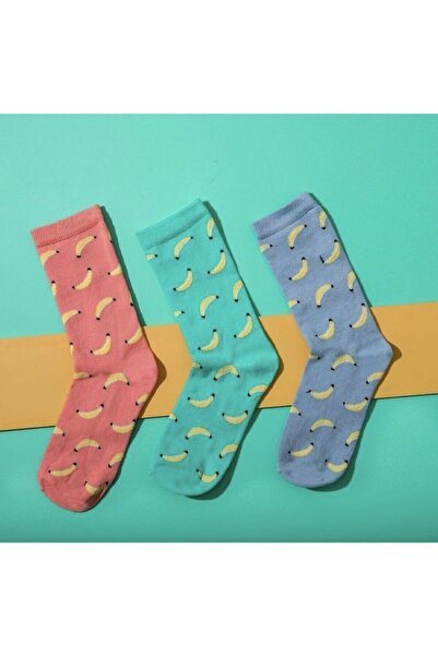 Arya Tekstil Muz Desenli Sevimli Çorap 3'lü