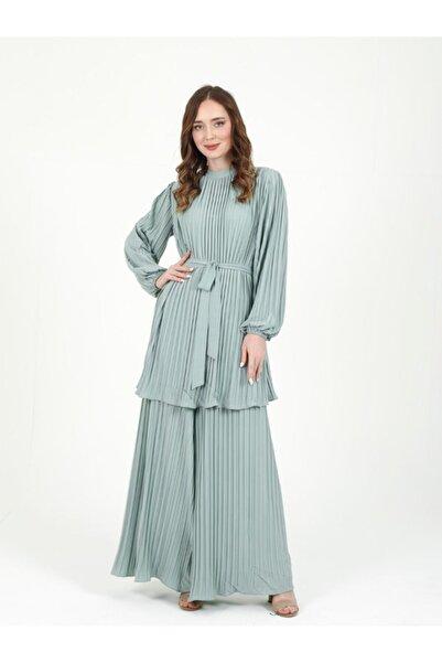 Orhan Tasarım Plise Takım Bluz Pantolon - Mint