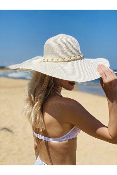 Orçun Özkarlıklı Kadın Hasır Plaj Şapkası Ekru