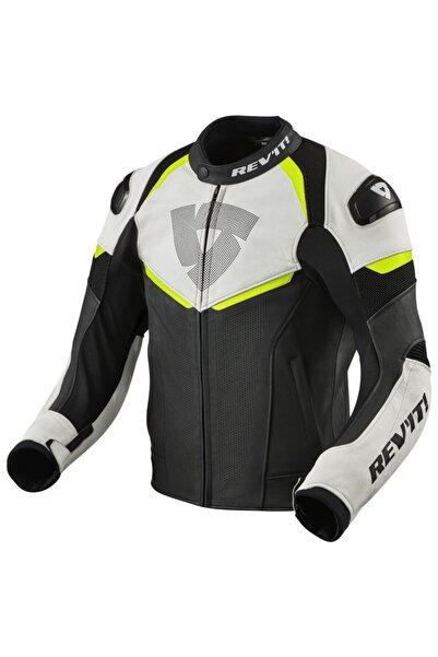 Revit Conwex Motosiklet Deri Ceketi Neon Siyah Beyaz