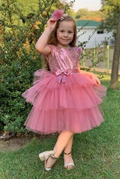 Kız Çocuk Pembe Pul Payetli Tüllü Elbise 3 Yaş Kız Çocuk Abiye
