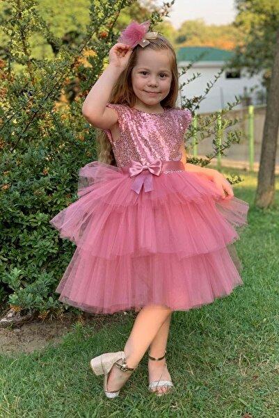 aden kids Kız Çocuk Pembe Pul Payetli Tüllü Elbise 3 Yaş Kız Çocuk Abiye