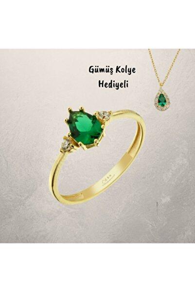 ÇGK KUYUMCULUK Gürel Gold Yeşil Damla Taşlı Altın Yüzük