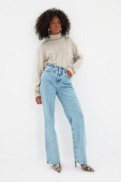 TRENDYOLMİLLA Mavi Bel Detaylı Yüksek Bel 90's Wide Leg Jeans TWOSS21JE0385