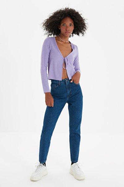 TRENDYOLMİLLA Indigo Yüksek Bel Mom Jeans TWOAW20JE0129