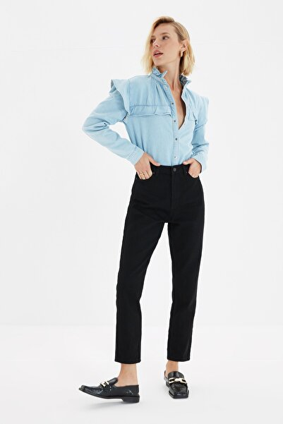 TRENDYOLMİLLA Siyah Yüksek Bel Mom Jeans TWOAW20JE0129