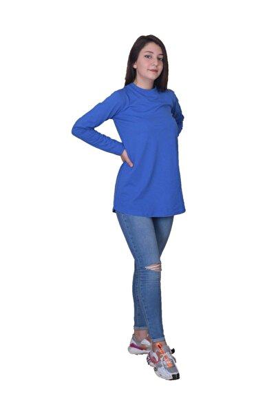 sufyy %100 Pamuk Penye Mavi Sade Kısa Tunik