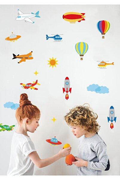 Sticker Sepetim Uçak , Balon , Helikopter , Uzay Mekiği Çocuk Odası Duvar Sticker Seti