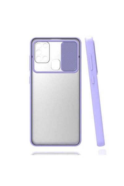 Samsung Galaxy A21s  Kaydırma Kapaklı Kamera Koruyucu Mat Renkli Slikon Kapak