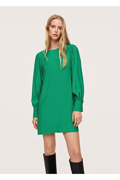 MANGO Woman Kadın Yeşil Kabarık Kollu Elbise