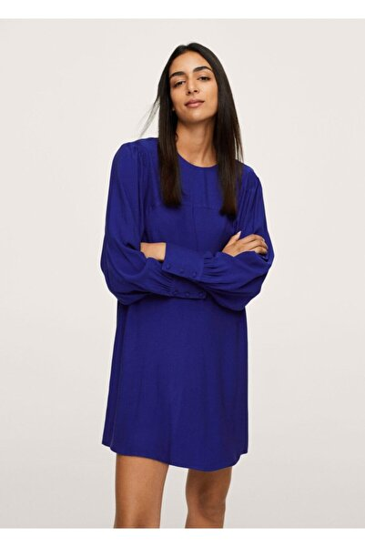 MANGO Woman Kadın Mavi Kabarık Kollu Elbise