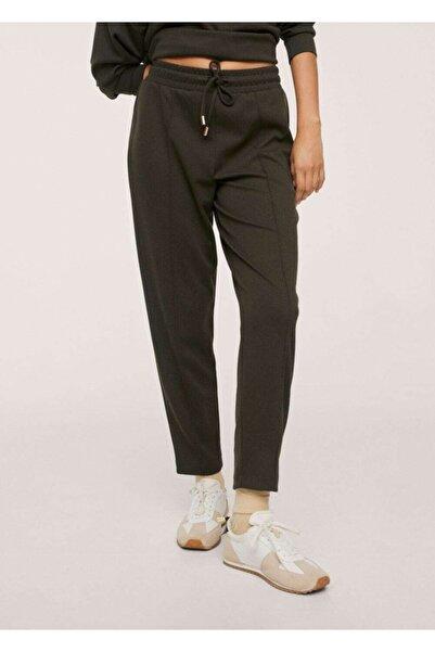 MANGO Woman Kadın Haki Renk Bağcıklı Jogger Pantolon