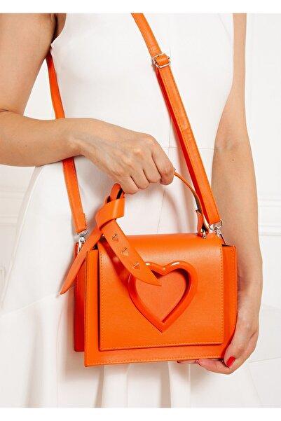 Gez çanta Love Kadın Kalpli Mıknatıs Kapaklı Ayarlanabilir Omuz Askılı Çanta Orange