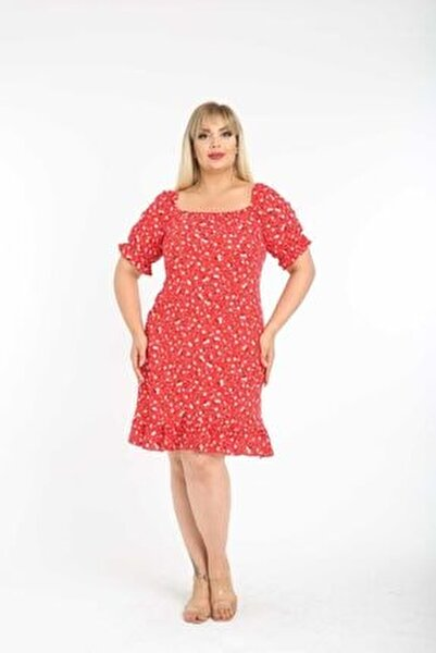 Kırmızı Çıtır Desen Kutu Yaka Büyük Beden Elbise