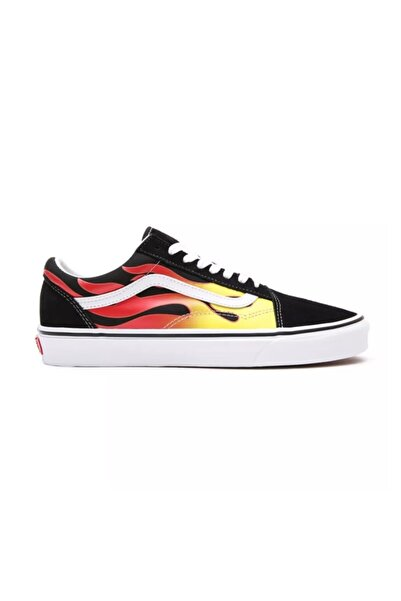 Vans Ua Old Skool (flame) Black/black/true White Unisex Spor Ayakkabısı